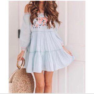 Free People Sunbeams Minidress Blue Size S